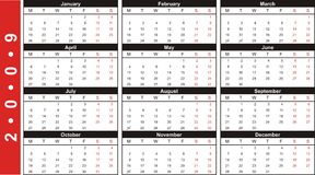 calendario 2009 de la tarjeta de visita Foto de archivo