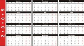 calendario 2009 del biglietto da visita illustrazione di stock