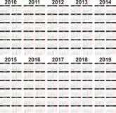 Calendario 2010-2019 Fotos de archivo