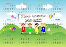 Calendario 2011 2012 de la escuela Imagen de archivo libre de regalías