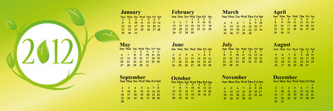 calendario 2012 di eco Immagini Stock