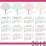 calendario 2012 por estaciones Ilustración del Vector