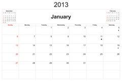 Calendario 2013 Foto de archivo libre de regalías