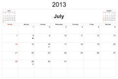 Calendario 2013 Fotos de archivo libres de regalías