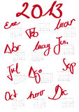 Calendario 2013 Imagen de archivo libre de regalías