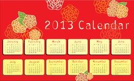 calendario 2013 con gli ornamenti floreali Fotografia Stock Libera da Diritti