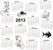 Calendario 2013 con los gatos Foto de archivo