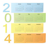 Calendario 2014 del vector del color Imagen de archivo