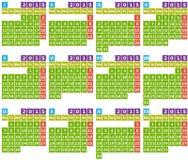 Calendario 2015 nella progettazione piana con le icone quadrate semplici Immagine Stock Libera da Diritti