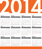 Calendario 2014 Fotografia Stock