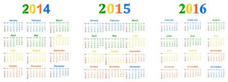 2014-2016 calendario Fotos de archivo libres de regalías