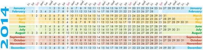 Calendario 2014 Fotografie Stock Libere da Diritti