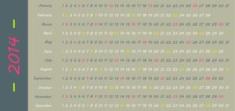 calendario 2014 Illustrazione di Stock