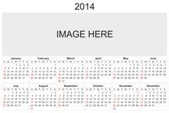 Calendario 2014 Foto de archivo libre de regalías