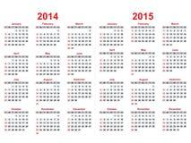 Calendario 2014 - 2015 Foto de archivo libre de regalías