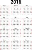 Calendario 2016 illustrazione di stock