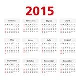 Calendario 2015 Immagine Stock Libera da Diritti