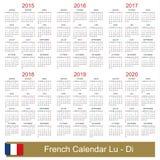 Calendario 2015-2020 Fotos de archivo libres de regalías