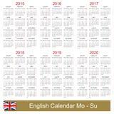 Calendario 2015-2020 Fotografía de archivo libre de regalías
