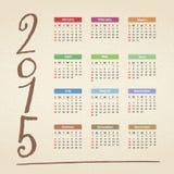 Calendario 2015 Foto de archivo