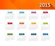 Calendario 2015 Imágenes de archivo libres de regalías
