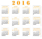 Calendario 2016 illustrazione vettoriale