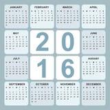 Calendario 2016 Immagine Stock Libera da Diritti