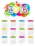 Calendario 2016 illustrazione vettoriale