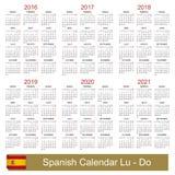 Calendario 2016-2021 Immagini Stock