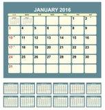 Calendario 2016 Fotos de archivo