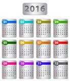 calendario 2016 Immagini Stock Libere da Diritti
