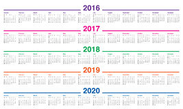 Calendario 2016 2017 2018 2019 2020 Foto de archivo libre de regalías