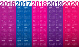 Calendario 2016 2017 2018 2019 2020 Imagen de archivo libre de regalías