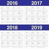 Calendario 2016 2017 2018 2019 Foto de archivo libre de regalías