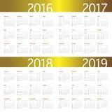 Calendario 2016 2017 2018 2019 Fotografía de archivo libre de regalías