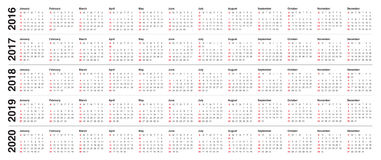 Calendario 2016 2017 2018 2019 2020 Immagine Stock