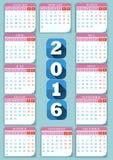 Calendario 2016 royalty illustrazione gratis