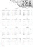 Calendario 2016 Fotografía de archivo