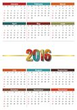 Calendario 2016 Royaltyfria Bilder
