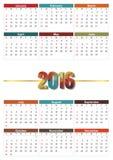 Calendario 2016 Imagens de Stock Royalty Free