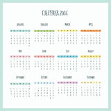 Calendario 2016 Immagine Stock