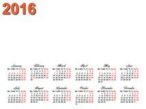 calendario 2016 Fotografia Stock Libera da Diritti