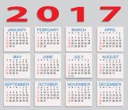 calendario 2017 Foto de archivo