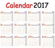 Calendario 2017 fotografia stock
