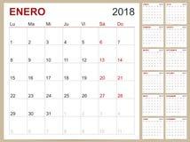 Calendario 2018 Foto de archivo libre de regalías