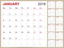 Calendario 2018 Fotografie Stock