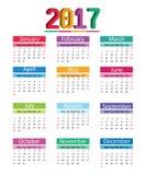 Calendario 2017 royalty illustrazione gratis
