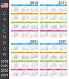 Calendario 2018-2021 Fotografia Stock Libera da Diritti