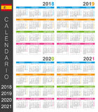 Calendario 2018-2021 Immagine Stock