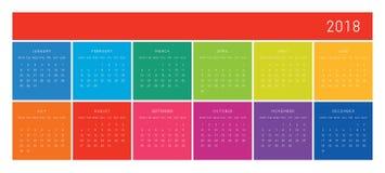 calendario 2018 Imagen de archivo